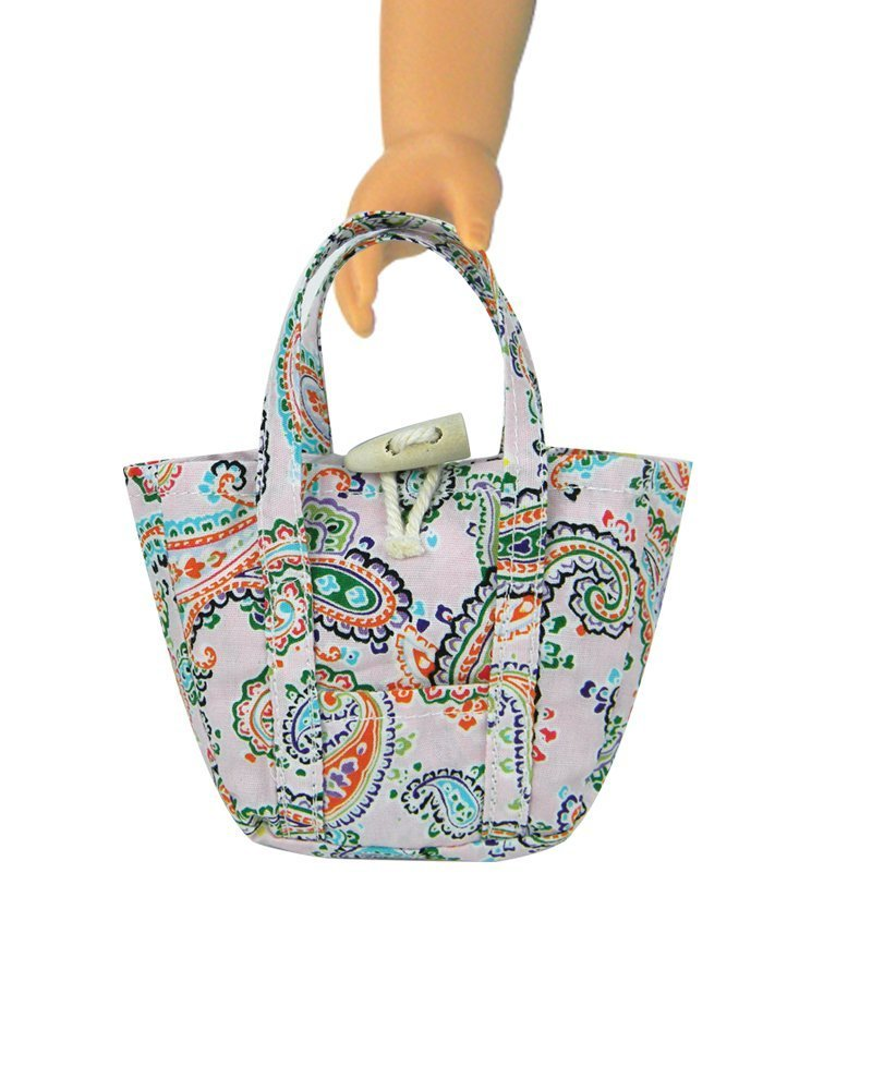 """Pink Paisley Print Tote Bag for 18/"""" Dolls including American Girl Dolls"""