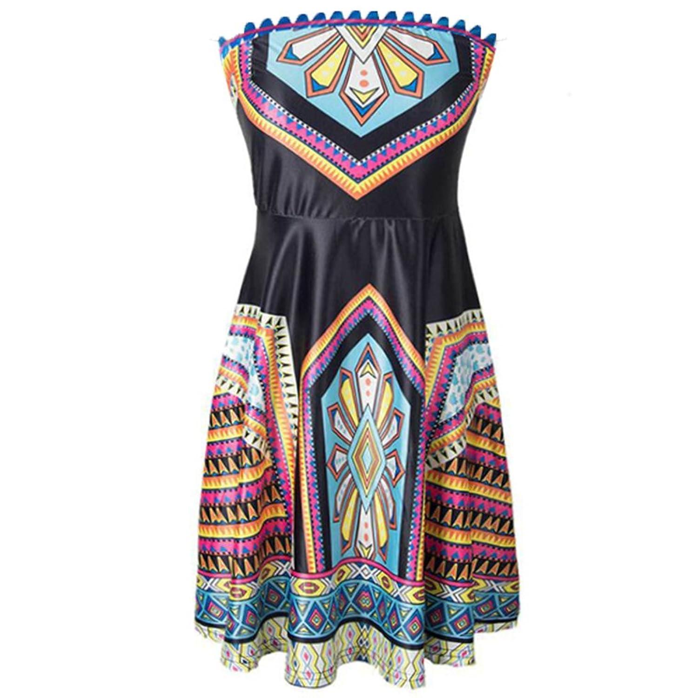 WintCO Damen Traegerlos Kleid Vintage Sommerkleid Stoffdurck Strandkleid Bohemian Style Retro Knielang
