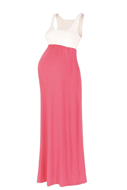 Beachcoco Coco Womens Maternity Contrast Maxi Tank Dress