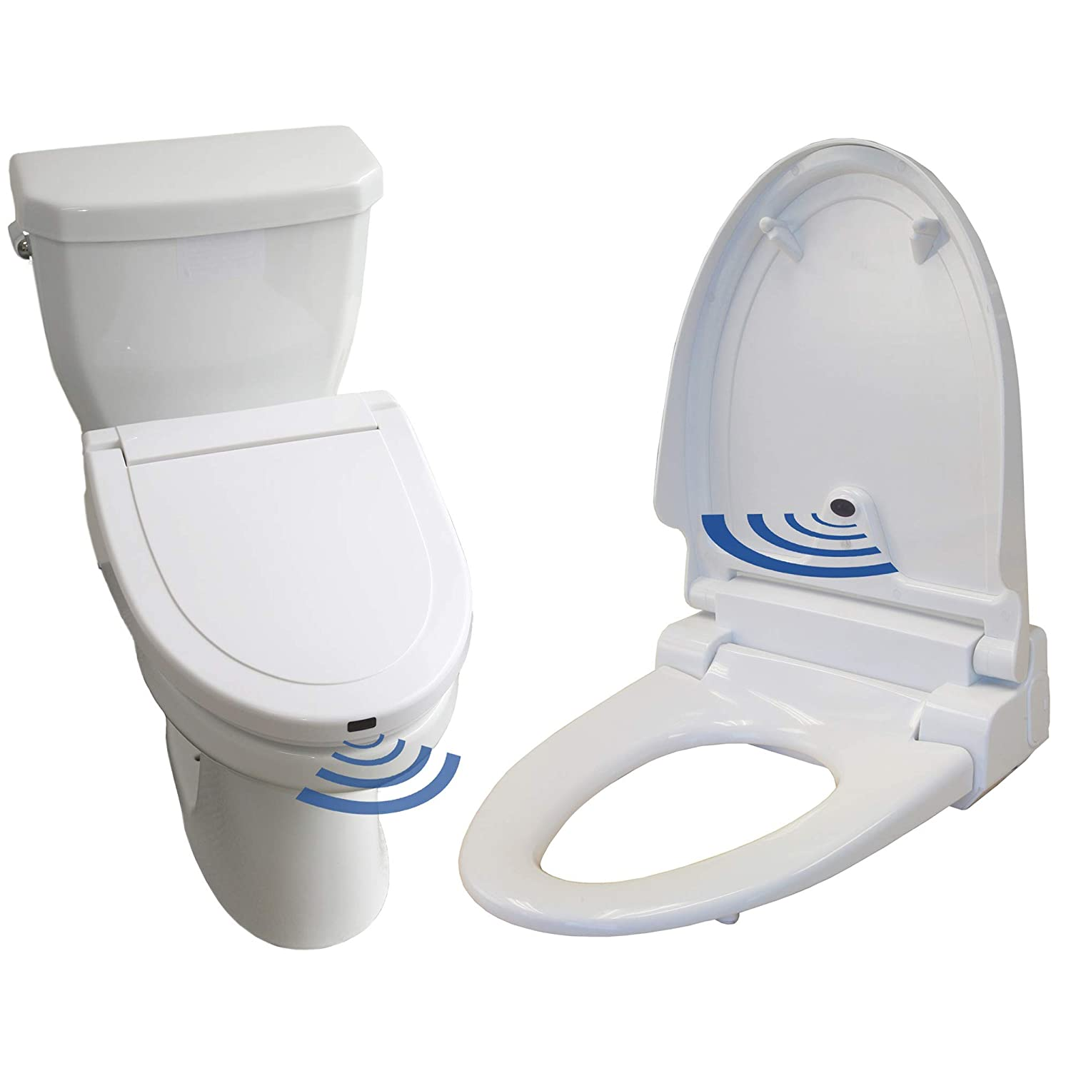 Tremendous Itouchless Touch Free Sensor Controlled Automatic Toilet Seat Elongated Model Off White Machost Co Dining Chair Design Ideas Machostcouk