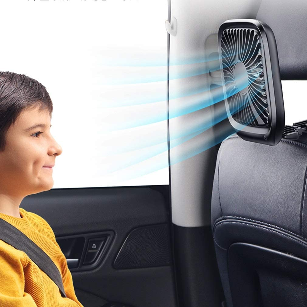 Fan Color : Black, Size : with car Charger Car Black and White Rear Seat Car USB Interface Small Fan Strong Cooling Small Air Conditioner Tingting