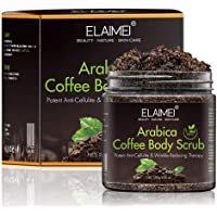 100% Natural Arabica Coffee Body Scrub with Natural Organic Coffee, Coconut and Shea Butter, Anti Cellulite and Stretch Mark treatment, Skin Exfoliator for Face Hand Lip & Body, Acne & Eczema 8.8 oz