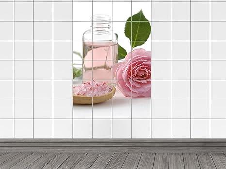 Piastrelle adesivo piastrelle quadro per massaggi con rosa e sale