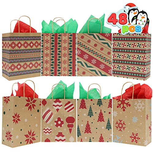 48 Christmas Kraft Goody Gift Paper Bags with Handles Assorted Christmas Characters for Xmas Party Favors, Holidays…