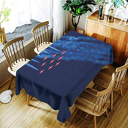 XXANS Elastic Tablecloth Rectangular,Airplane,Digital View Canadian Descending Snowbirds Up in The Air Military Flight Image,Table Cover for Dining,W60X90L Dark Blue Red