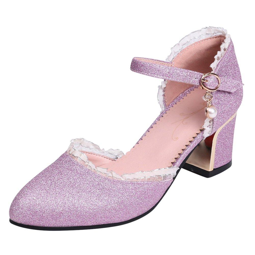 Ye Damen Chunky Heels Pumps Mit Blockabsatz Und Riemchen Glitzer 5cm