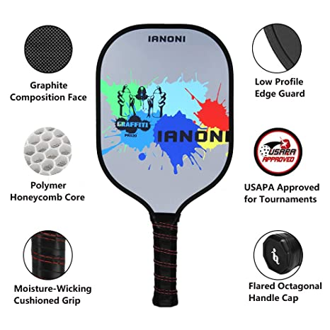 Grafito compuesto Pickleball paddle-ianoni (2017 Nuevo diseño) Pickleball paleta con grafito Face & PE Panal Core para interior y exterior Pickleball, ...