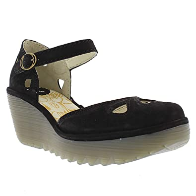 6c79badf566d1 FLY London Womens Yuna Cupido Ankle Strap Closed Toe Wedge Heel Shoes -  Black - US5
