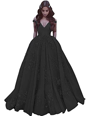 45998de714 JQLD Women s Sexy V-Neck Applique Satin Prom Dresses Long Formal Halloween  Party Gowns Black