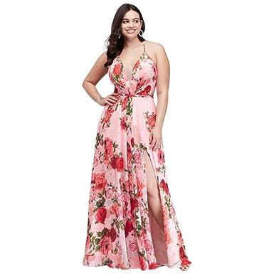 David\'s Bridal Slit Skirt Floral Chiffon A-Line Plus Size Prom Dress ...