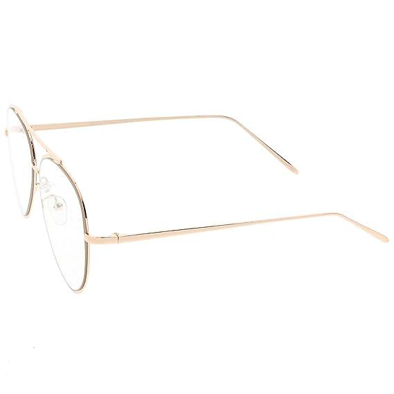 18b72e2da6 Amazon.com  sunglassLA - Mod Fashion Metal Aviator Eyeglasses Teardrop  Rimless Clear Flat Lens 58mm (Gold Clear)  Clothing