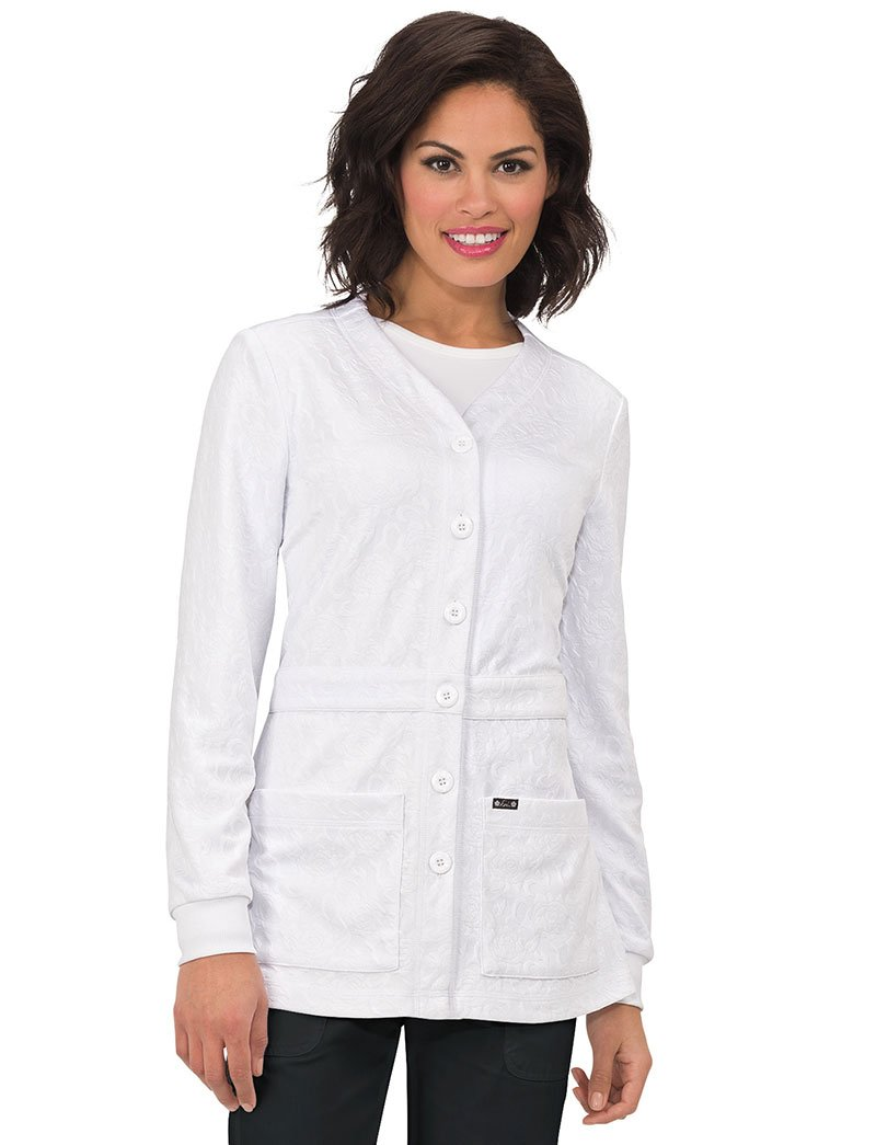 KOI Lite Women's Claire Button Front Solid Cardigan Scrub Jacket Medium White