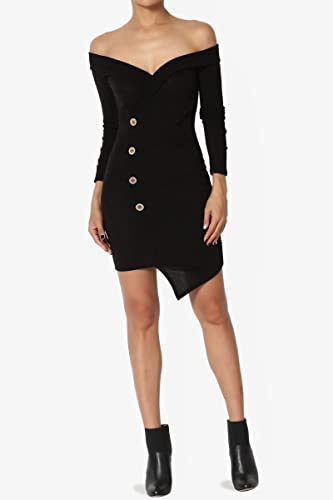 326068c0e220 TheMogan Faux Fur Detail Off Shoulder Ribbed Knit Long Sleeve Bodycon Mini  Dress at Amazon Women s Clothing store