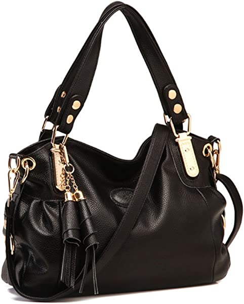 Voudi Genuine Leather Handbags for Women Top Handle Bag Hobo Handbag Tote Shoulder  Bag Designer Purse 3b47a66bdbdbd