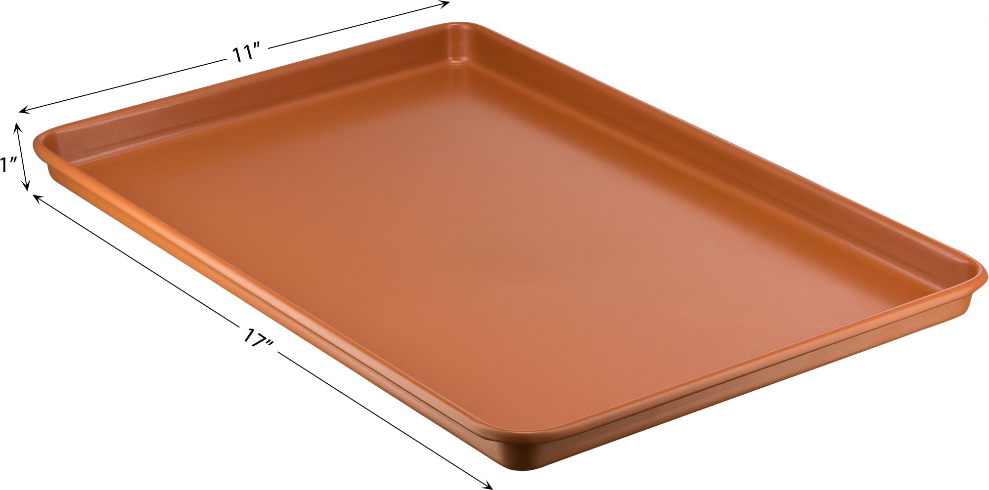 Ceramic Coated Cookie Sheet 17.3'' x 11.6'' - Premium Nonstick, Even Baking, Dishwasher and Oven Safe - PTFE/PFOA Free - Red Cookware and Bakeware by Bovado USA by BOVADO USA (Image #6)
