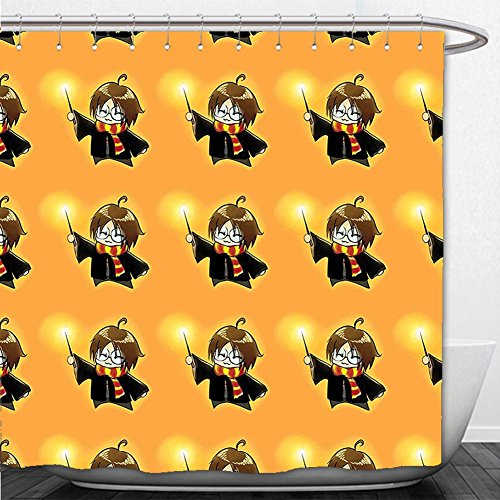 Beshowere Shower Curtain Wizard Cartoon Character with Glasses in Costume Frock Holding Wand Pattern Magic Anime Art Decor Orange and Black - Diy Holding Head Costume