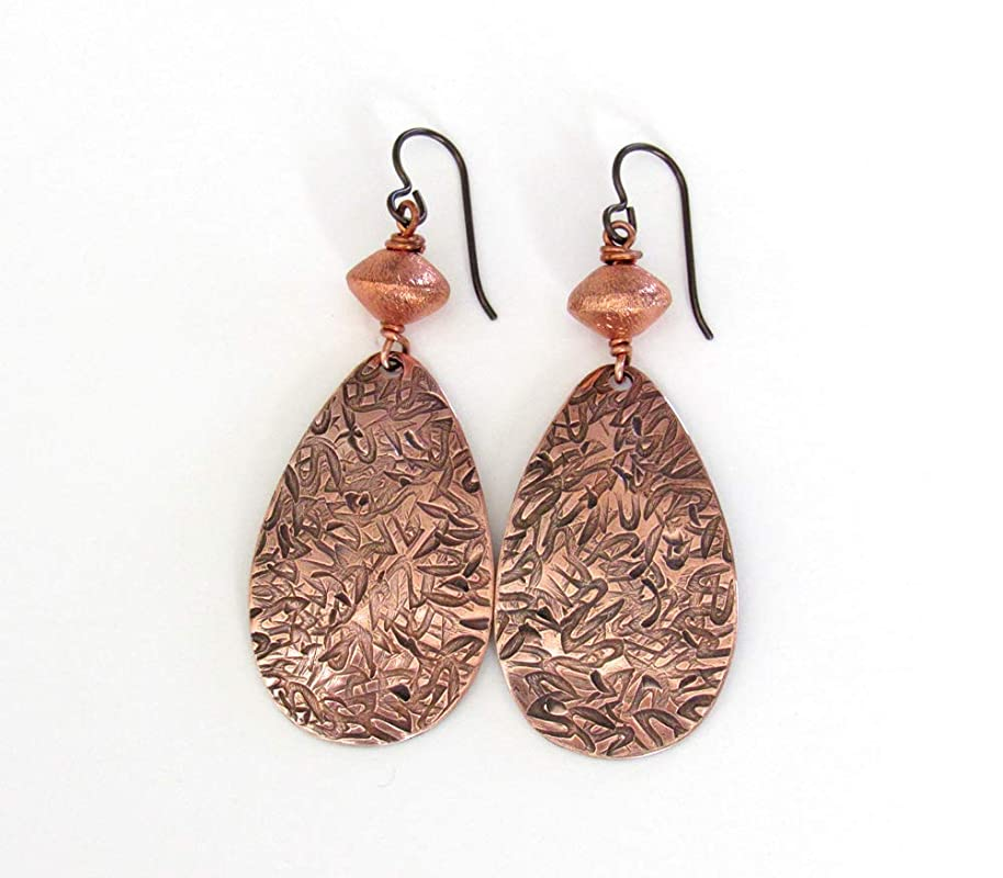 Brass and Copper Hand Textured Double Bar Earrings Light Patina on Brass and Copper Lightweight Mixed Metal Dangles Flat Rectangles