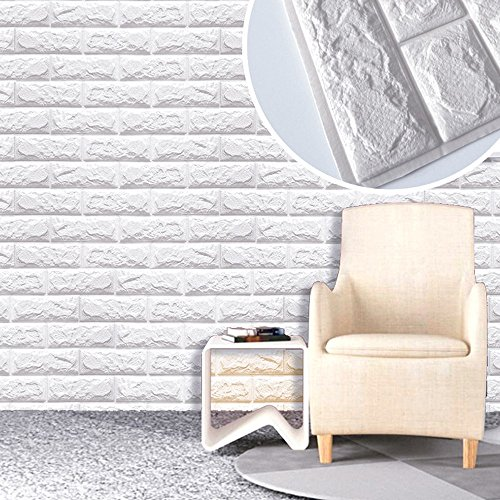 10 PCS 3D Brick Wall Stickers Self-Adhesive Panel Decal PE Wallpaper,Peel and Stick Wall Panels for TV Walls,Living Room Bedroom Sofa Background Wall Decor by Yokstore (Image #3)