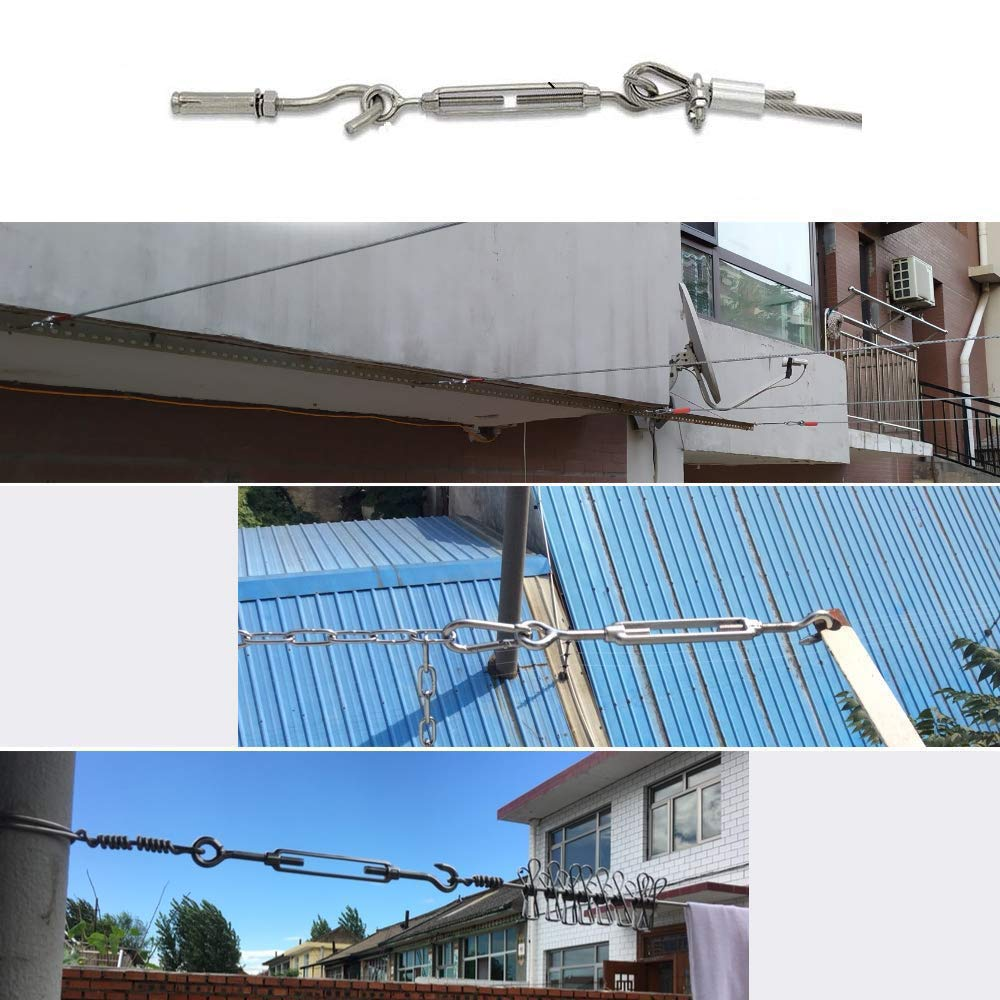 YFOX M4 Edelstahl 304 Haken-/Ösen-Schraubschnalle,C-O-Drahtseil-Spannset,zum Installieren von Zelten,Installieren der W/äscheleine,Einstellen des Zubeh/örs f/ür elastische Drahtseile,6-teilig