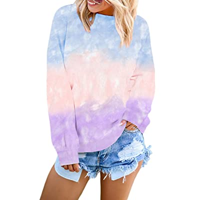Actloe Women Crewneck Long Sleeve Sweatshirt Color Block Tie Dye Pullovers Casual Tops: Clothing