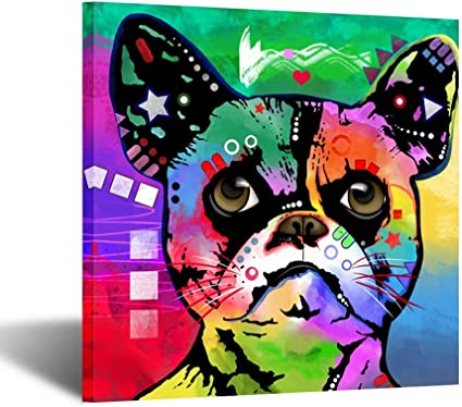 Amazon Com Kreative Arts Funny Dog Art Prints Colorful Pet Canvas Wall Art Framed Abstract Animal Canvas Print Giclee Print Gallery Wrap Modern Home Decor Ready To Hang For Kids Room Decor 24x24inch