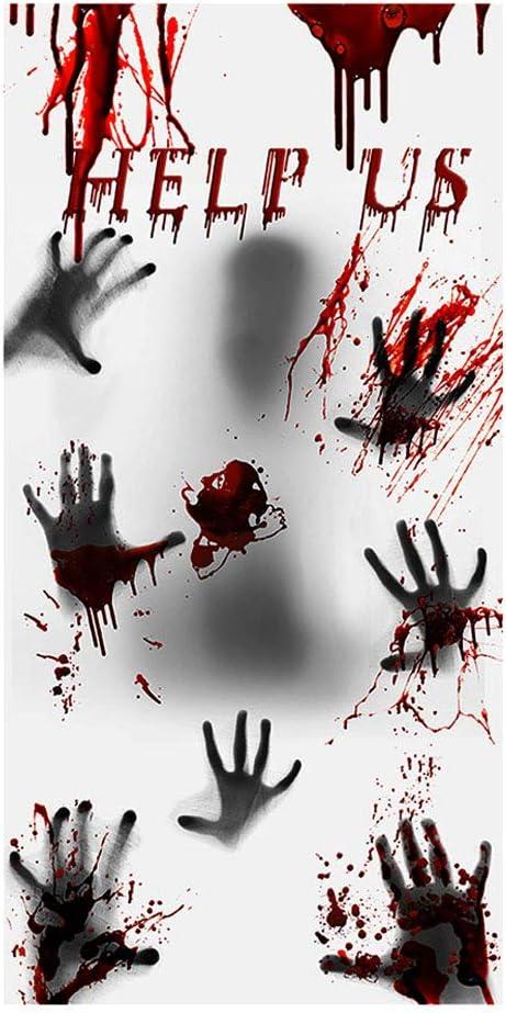 Halloween Door Sticker, Halloween Decoration Indoor Scary Bloody Decorations Indoor, Window Decals Door Sticker Floor Clings, Handprint Decal Handprint Sticker for Bathroom Office Window Wall Door