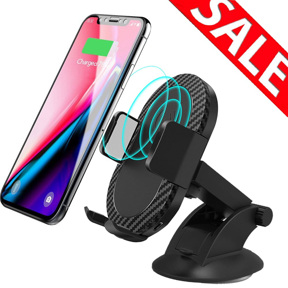 Wireless Car Charger, 2 in 1 10W Fast Wireless Charger Air Vent & Bracket Phone Holder for iPhoneX/8/8 Plus, Samsung Galaxy S9/S9+/Note 8/S8/S8 Plus/S7/S6 Edge All Qi Enabled by LKO