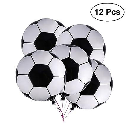 LUOEM 12 Unids balón de fútbol de fútbol de fútbol metálico Globos Mylar decoración para la Fiesta de cumpleaños de 18 Pulgadas