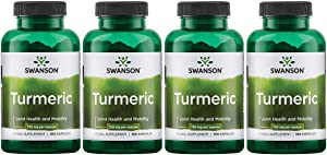Swanson Turmeric Curcumin Antioxidant Joint Health Cardiovascular Liver Detox Mood and Memory Support Supplement Curcuma Longa (Rhizome) 1.44 Grams (1440 mg) 100 Capsules (4 Pack)