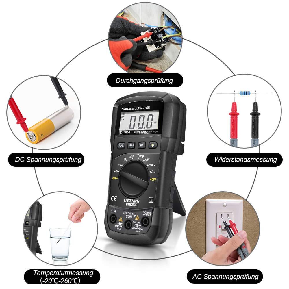 LCD-Anzeige und Hintergrundlicht Digital Multimeter Ueznirn Auto-Range AC//DC Multimeter Voltmeter Amperemeter Ohmmeter mit Temperaturmessung