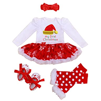 Amazon.com: 4Pcs My First Christmas Costume Newborn Baby Girl Tutu ...