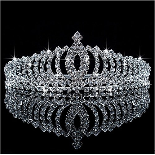 Bienna Crown Sparkly Rhinestones Decor Girls Headband Headpiece with Comb -