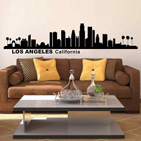 Battoo wall decals vinyl stickers los angeles california city skyline silhouette art home decor for living