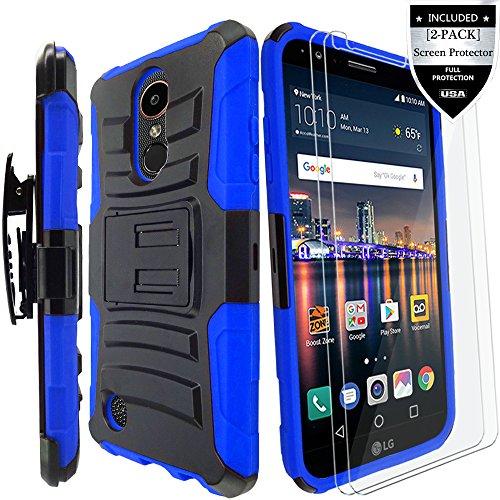 LG K20 Plus Case/LG K20 V Case/LG Harmony Case/LG K20 Case/LG Grace Case with [2-Pack] Screen Protector,IDEA LINE(TM) Armor Shock Proof Dual Layer Combo Holster Kickstand Belt Clip - Blue