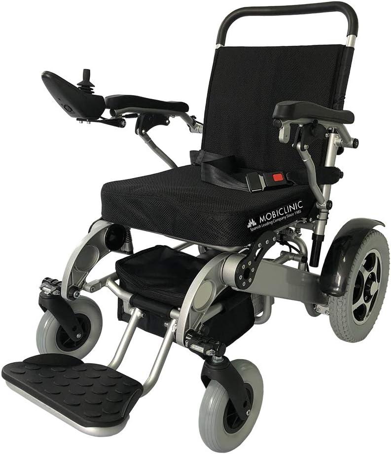 Mobiclinic, modelo Toya Plus, Silla de ruedas eléctrica, plegable, acero, con motor, para discapacitados, minusválidos, ancianos, ortopedica, para mayores, asiento 45 cm, autonomía 34 km, 2 24V, Azul