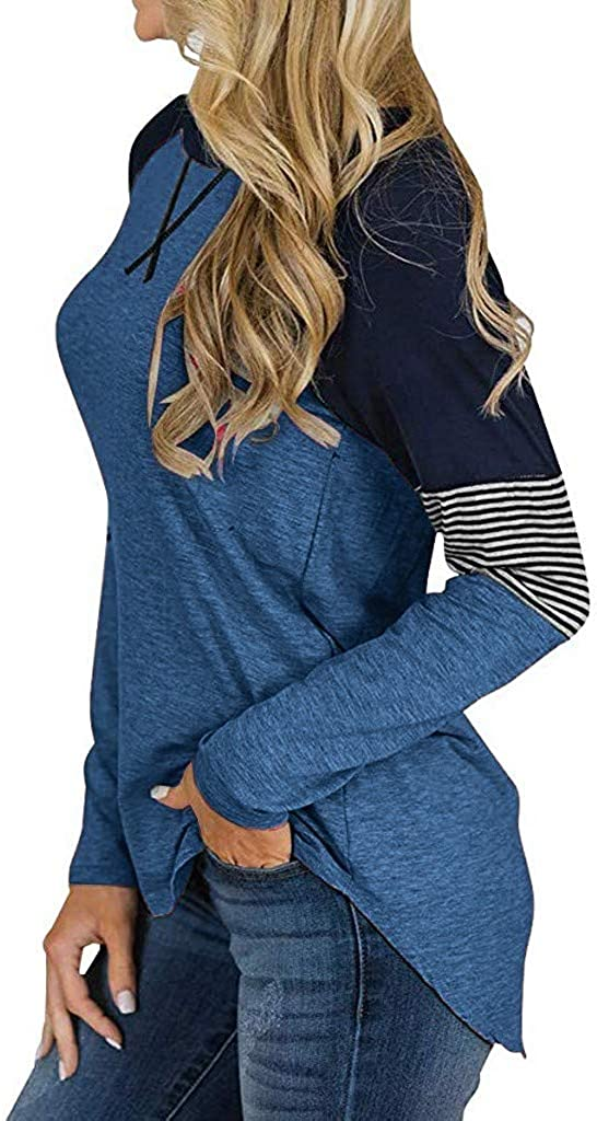ANJUNIE Women Stripe Print Pullover Tunic Tops Plus Size Pullover Blouse Sweatshirt Loose Fit Sweater