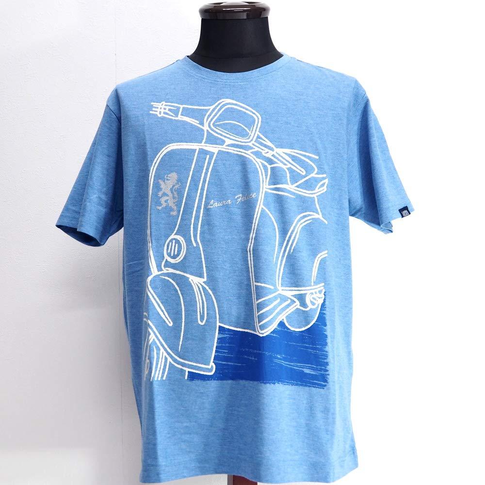 51344 LAURA FELICE MILANO ラウラフェリーチェ 日本製 ストレッチ Uネック 丸首 Tシャツ 半袖 ブルー 48(L) サイズ 日本製 メンズ カジュアル 男性 春夏 ゴルフ 通販   B07PJ914ZY