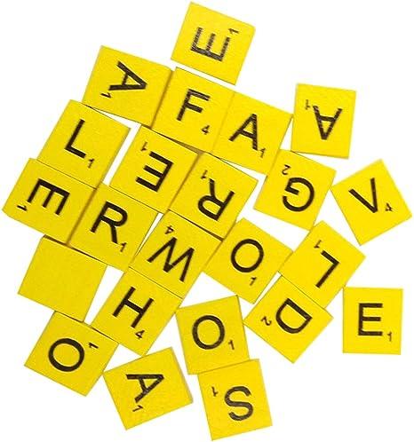 Gemini_Mall® Fichas de madera, Pack de 100 piezas de Scrabble Letras y Números Negros para manualidades con alfabeto de madera.: Amazon.es: Hogar