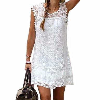 0e90abdf6ed Z Lady Cute White Lace Mini Dress Mesh Hollowed Sleeveless Tunic Dresses:  Amazon.co.uk: Clothing