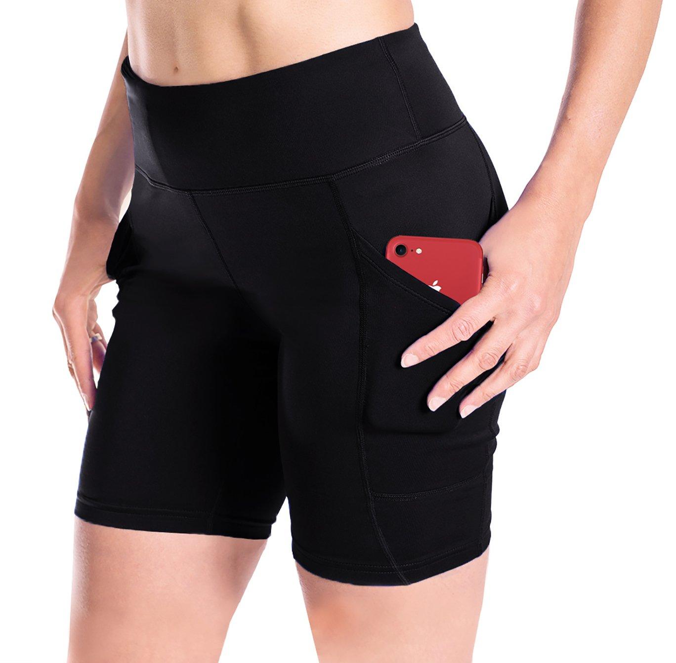Yogipace Women's 7'' Inseam Compression Workout Shorts Bike Short Side Pockets Black Size XS