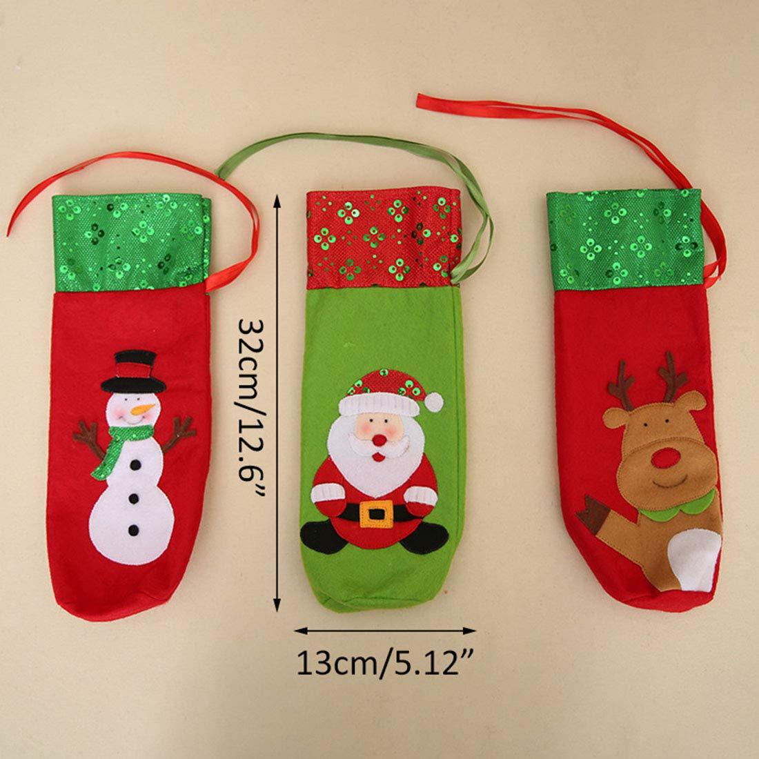 Milong 2PCS Fundas de Botella de Vino, Cubiertas de Champán, de Diseño Muñeco de Nieve y Papá Noel, Decoración para Fiesta de Navidad Cretivo Lindo para ...