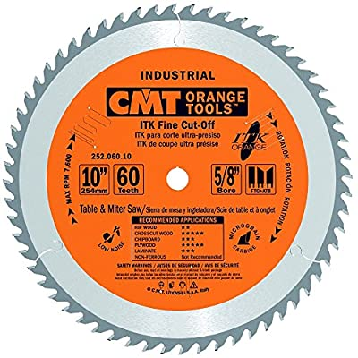 CMT 252.060.10 ITK Industrial Fine Cut-Off Saw Blade, 10-Inch x 60 Teeth 1FTG+2ATB Grind with 5/8-Inch Bore