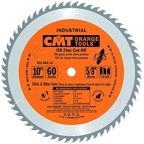 - CMT 252.060.10 ITK Industrial Fine Cut-Off Saw Blade, 10-Inch x 60 Teeth 1FTG+2ATB Grind with 5/8-Inch Bore