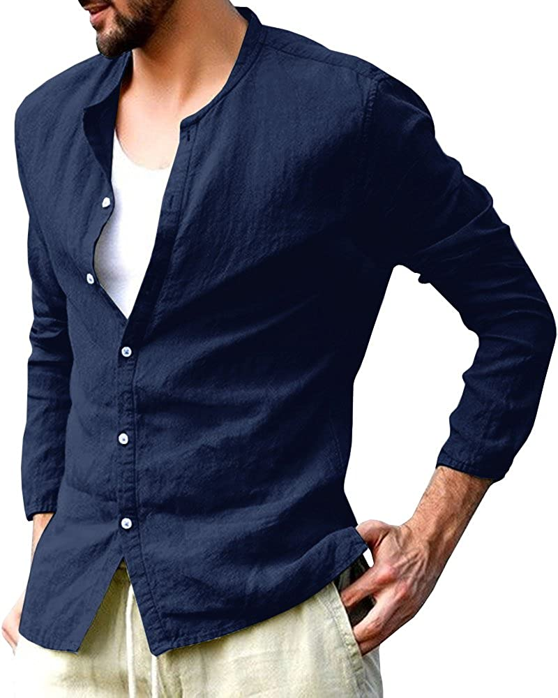 Gemijack Mens Casual Button Down Shirts Cotton Crewneck Long Sleeve Regular Shirt