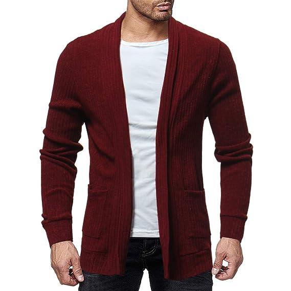 Amazon.com: Faionny Men Solid Cardigan Sweater Knit Sweatshirts Slim Jacket Pocket Cardigan Coat Autumn Winter Coat: Clothing