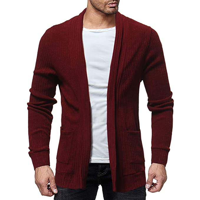 Amazon.com: Sale! Teresamoon Mens Fashion Solid Cardigan Sweater Sweatshirts Casual Slim Fit Jacket Coat: Home & Kitchen
