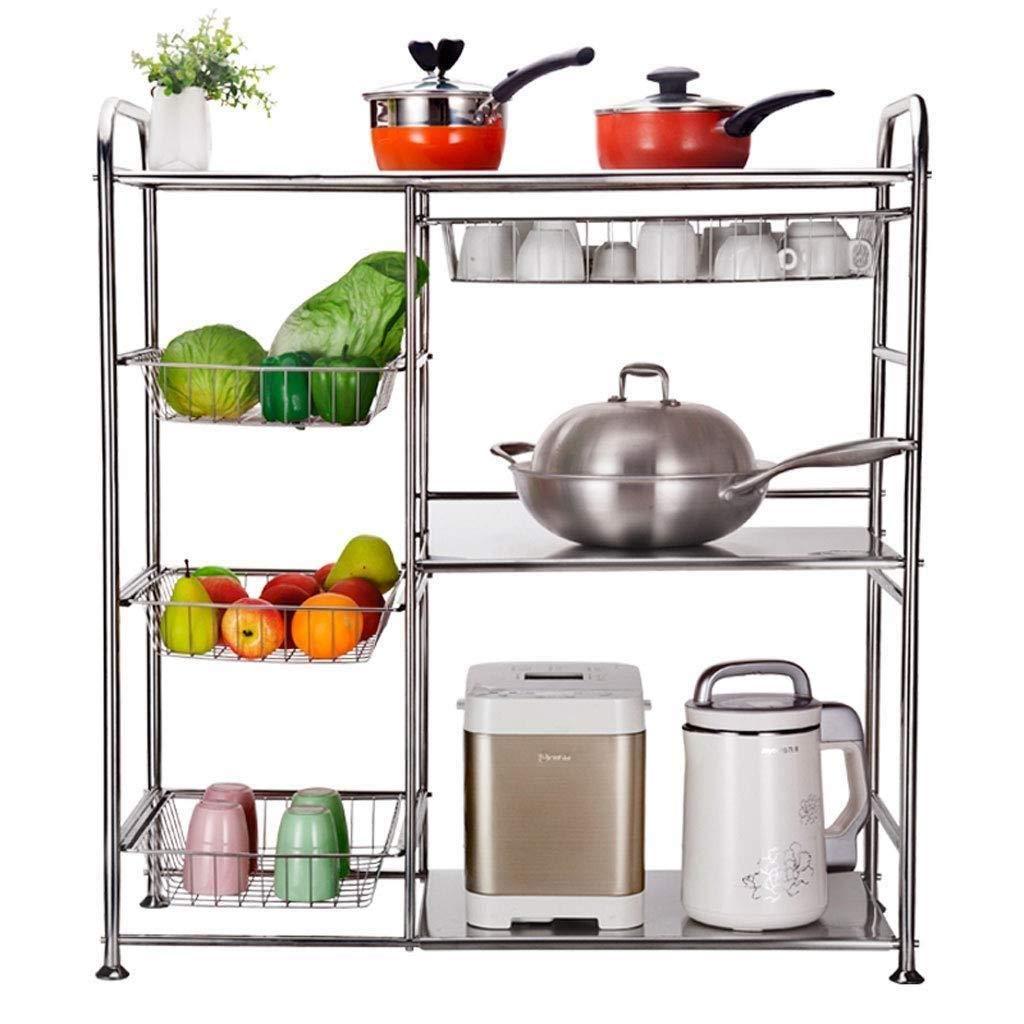 キッチン収納ラック - 棚キッチン電子レンジラック多層多機能キッチン収納フロアスタンド調味料皿ラック省スペース ZHHCP B07RRKJ2GW