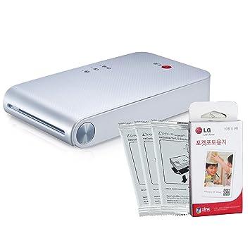 LG Popo Pocket Photo PD239 de la Impresora (Blanco) Bundle ...