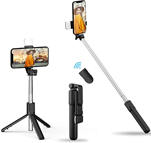 2021 Newest Selfie Stick Tripod with Fill Light, Lightweight Phone Tripod Stand with Detachable Bluetooth Wireless Remote Compatible with iPhone 12/11/XR/X/Pro, Galaxy S10 and More(Black-White Lights)