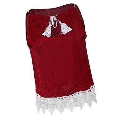 Baoblaze Femmes Blouse Dentelle Gland Sans Manches Casual Débardeur T-shirt  Rouge et Blanc - 48b62dd2559
